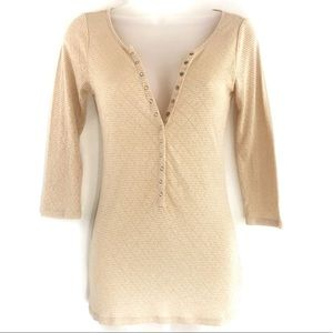 Free People Metallic Gold Thermal Henley Shirt